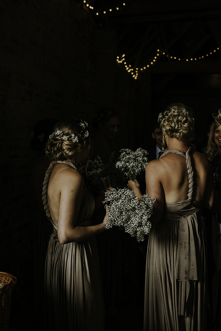 Champagne Multiway Bridesmaid Dresses Enchanting Country Barn Wedding http://www.dmcclane.com/