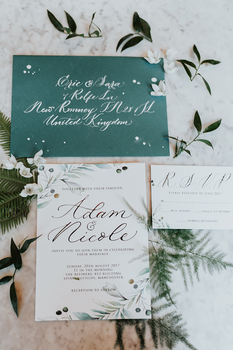 Stationery Green White Invitations Invite Calligraphy Botanical Leaves Industrial Greenery City Wedding Ideas https://leahlombardi.com/