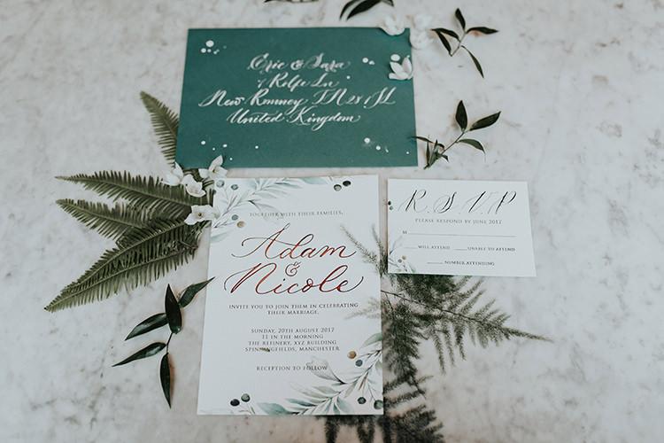 Stationery Green White Invitations Invite Calligraphy Botanical Leaves Foliage Industrial Greenery City Wedding Ideas https://leahlombardi.com/