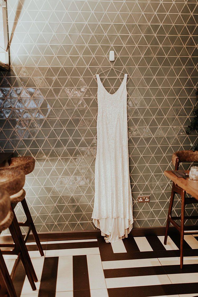 Sequin Dress Gown Bride Bridal White Industrial Greenery City Wedding Ideas https://leahlombardi.com/