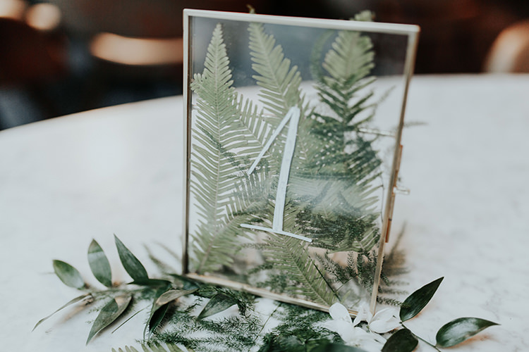Foliage Leaves Ferns Table Number Frame Transparent Industrial Greenery City Wedding Ideas https://leahlombardi.com/