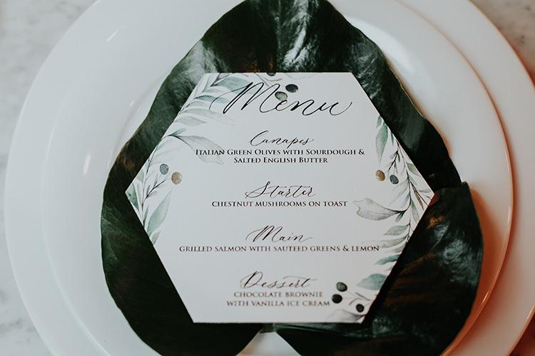 Stationery Green White Menu Geometric Calligraphy Botanical Leaves Industrial Greenery City Wedding Ideas https://leahlombardi.com/