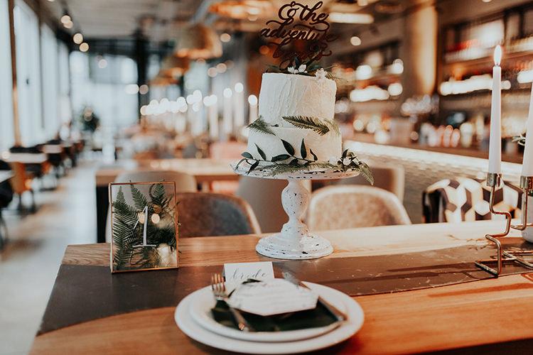 Buttercream Cake Topper Botanical Foliage Leaves Fern Industrial Greenery City Wedding Ideas https://leahlombardi.com/