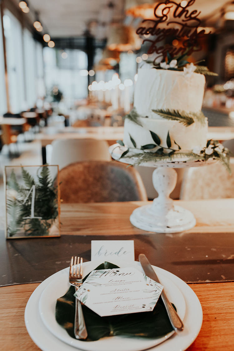 Foliage Leaves Ferns Place Setting Table Number Frame Transparent Industrial Greenery City Wedding Ideas https://leahlombardi.com/