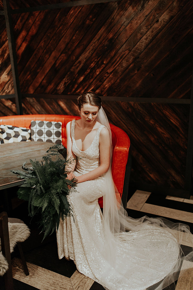 Sequin Dress Gown Bride Bridal Embellished Beaded White Industrial Greenery City Wedding Ideas https://leahlombardi.com/