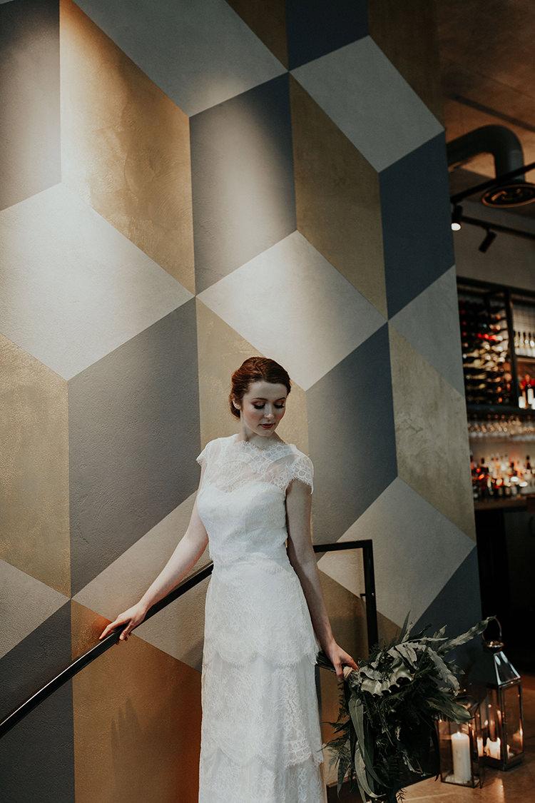Lace Dress Gown Bride Bridal High Neckline Tier Industrial Greenery City Wedding Ideas https://leahlombardi.com/