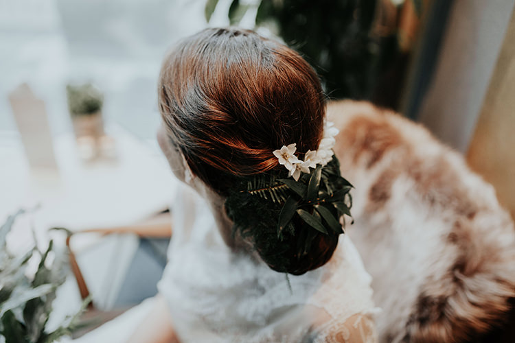 Hair Bride Bridal Flowers Leaves Foliage Up Do Style Industrial Greenery City Wedding Ideas https://leahlombardi.com/