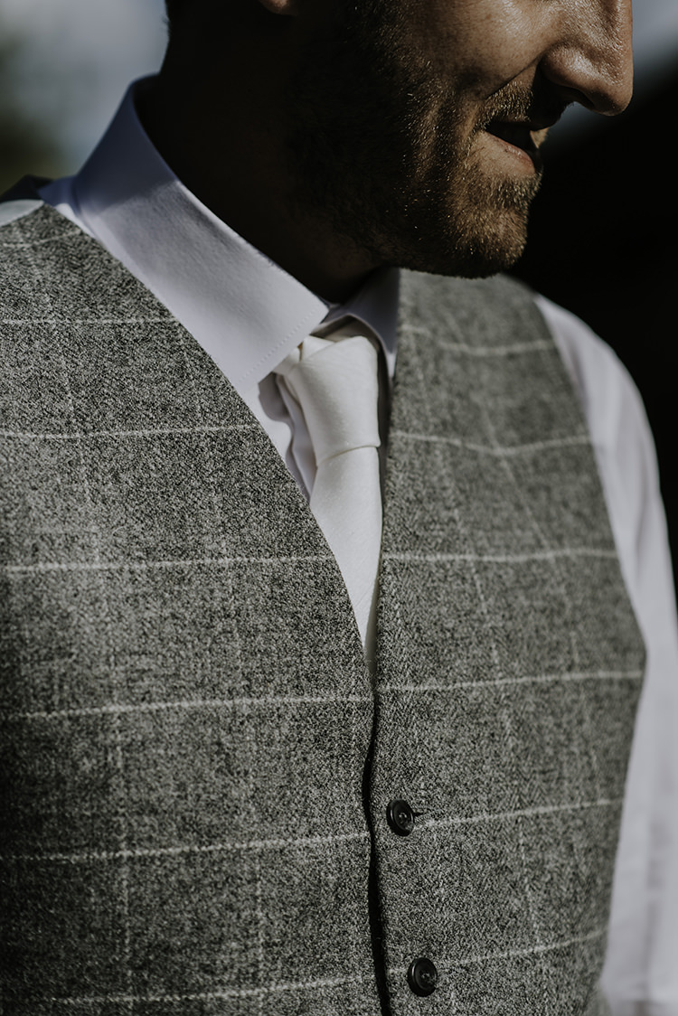 Grey Check Waistcoat White Tie Groom Groomsmen Enchanting Country Barn Wedding http://www.dmcclane.com/
