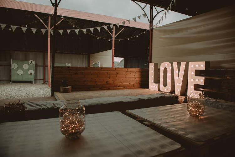 LOVE Letter Lights Lighting Whimsical Modern Rustic Barn Wedding http://photomagician.co.uk/