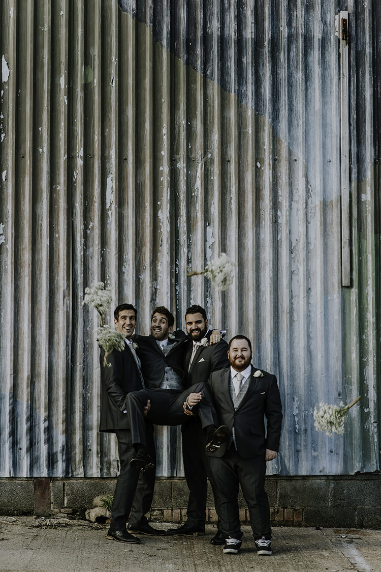 Grey Suits Waistcoats Groom Groomsmen Enchanting Country Barn Wedding http://www.dmcclane.com/