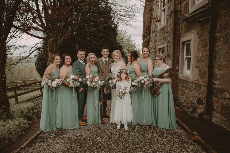 Long Green Bridesmaid Dresses Whimsical Modern Rustic Barn Wedding http://photomagician.co.uk/