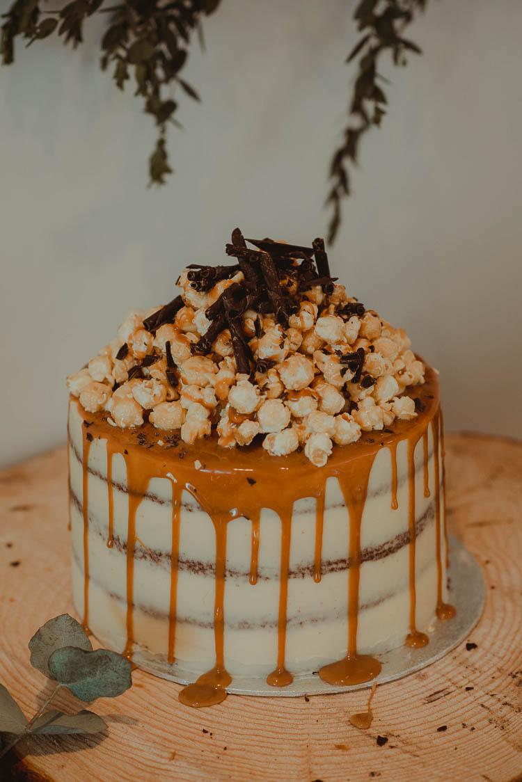 Drip Cake Semi Naked Buttercream Pop Corn Whimsical Modern Rustic Barn Wedding http://photomagician.co.uk/