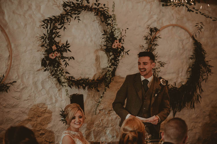 Flower Greenery Foliage Hoops Backdrop Top Table Whimsical Modern Rustic Barn Wedding http://photomagician.co.uk/