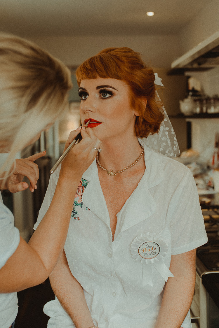Vintage Make Up Bride Bridal Beauty Hair Fringe Bangs Eclectic Kitsch Retro Fete Wedding http://www.belleartphotography.com/