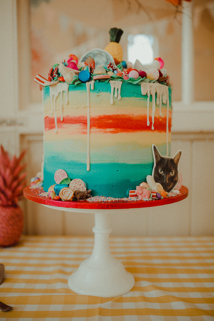 Colour Drip Buttercream Cake Cats Pineapple Sweets Eclectic Kitsch Retro Fete Wedding http://www.belleartphotography.com/