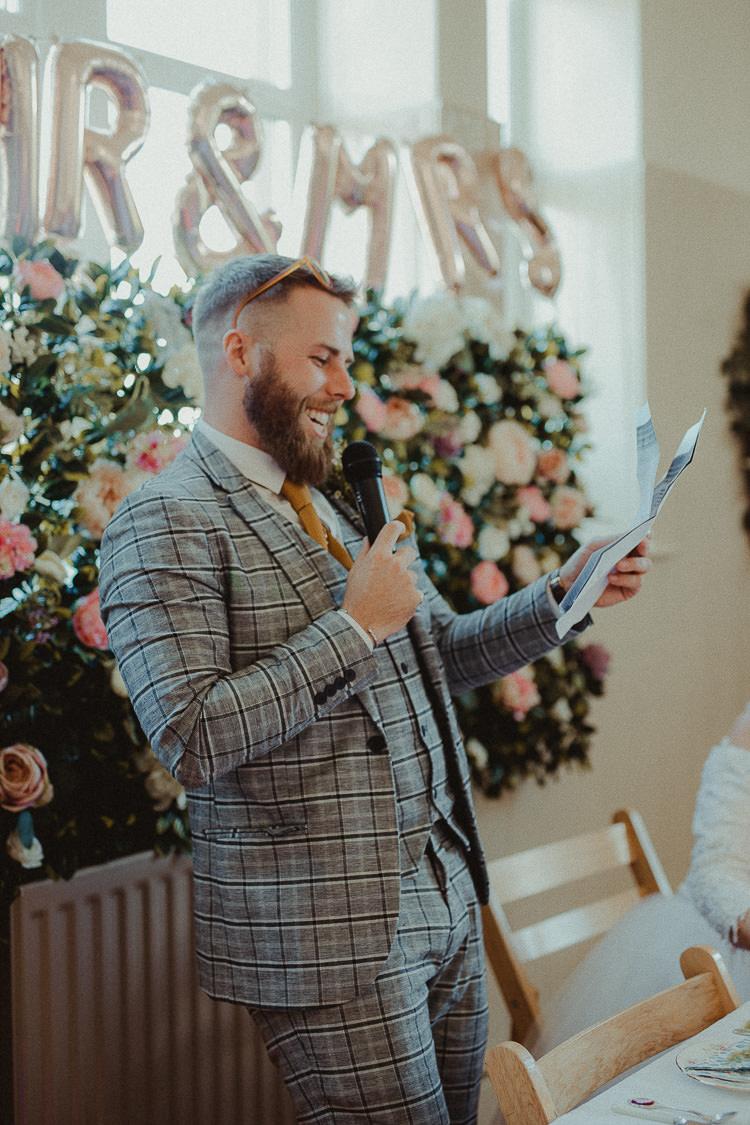 Check Suit Grey Groom Mustard Tie Eclectic Kitsch Retro Fete Wedding http://www.belleartphotography.com/