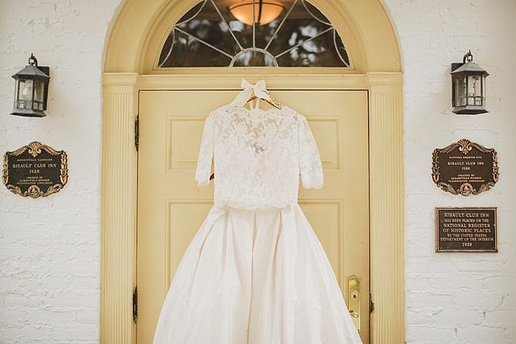 Dress Lace Sleeves Magical Wedding Ceremony Beneath An Oak Tree Florida http://stephaniew.com/