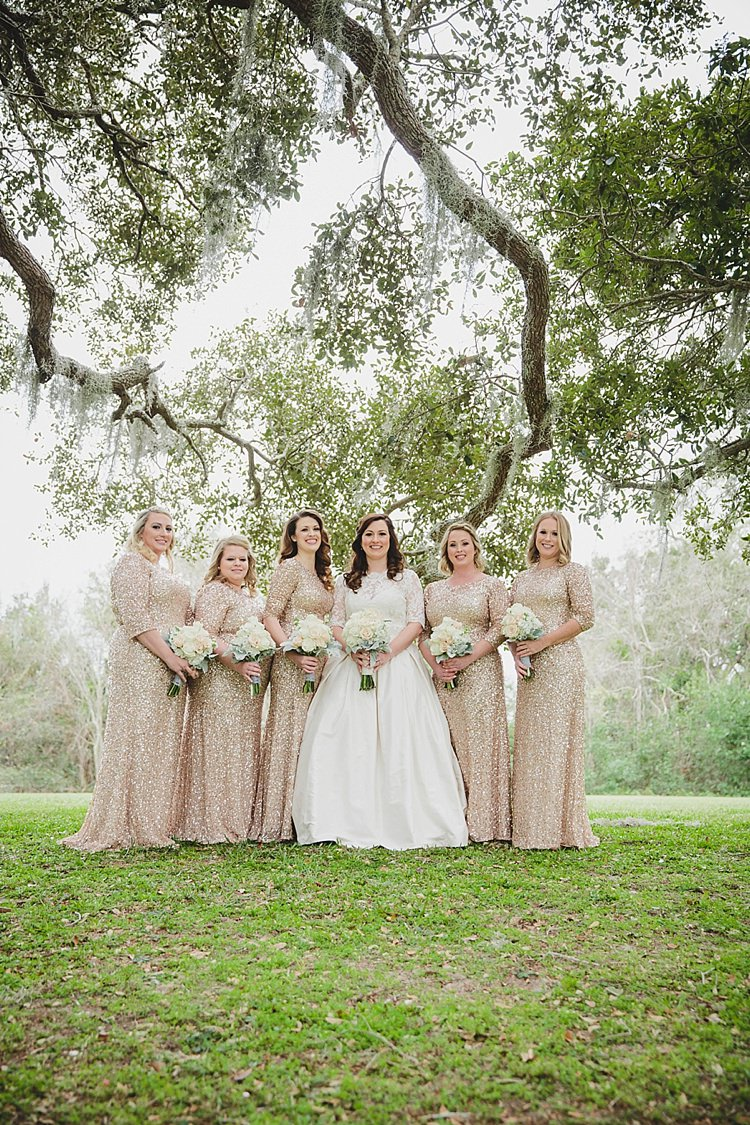 Sequins Bridesmaids Magical Wedding Ceremony Beneath An Oak Tree Florida http://stephaniew.com/