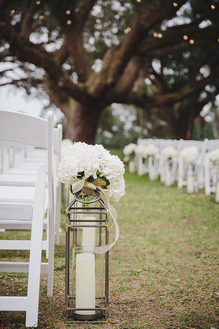 Aisle Decoration Lantern Magical Wedding Ceremony Beneath An Oak Tree Florida http://stephaniew.com/
