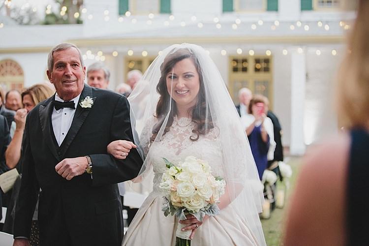 Bride Father Aisle Magical Wedding Ceremony Beneath An Oak Tree Florida http://stephaniew.com/