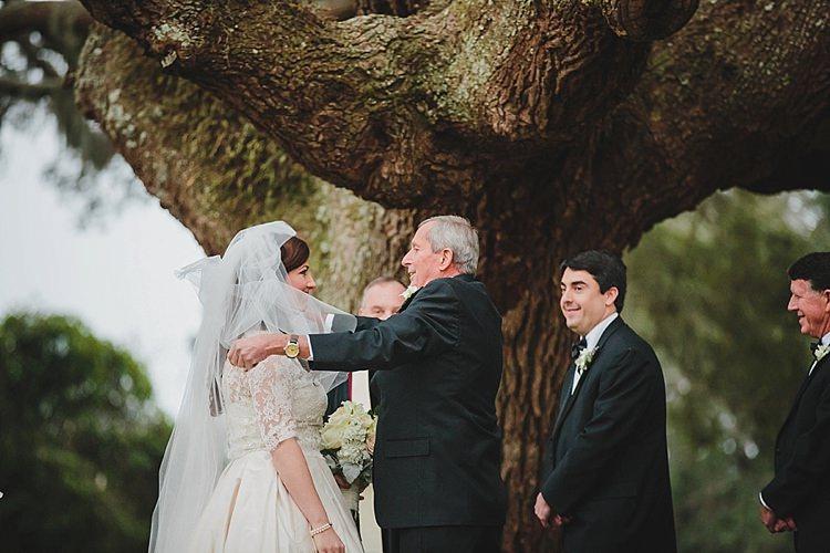 Father Bride Veil Ceremony Magical Wedding Ceremony Beneath An Oak Tree Florida http://stephaniew.com/