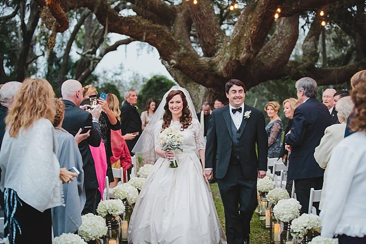 Bride Groom Exit Magical Wedding Ceremony Beneath An Oak Tree Florida http://stephaniew.com/