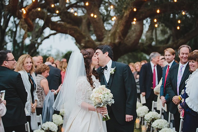 Bride Groom Kiss Exit Magical Wedding Ceremony Beneath An Oak Tree Florida http://stephaniew.com/