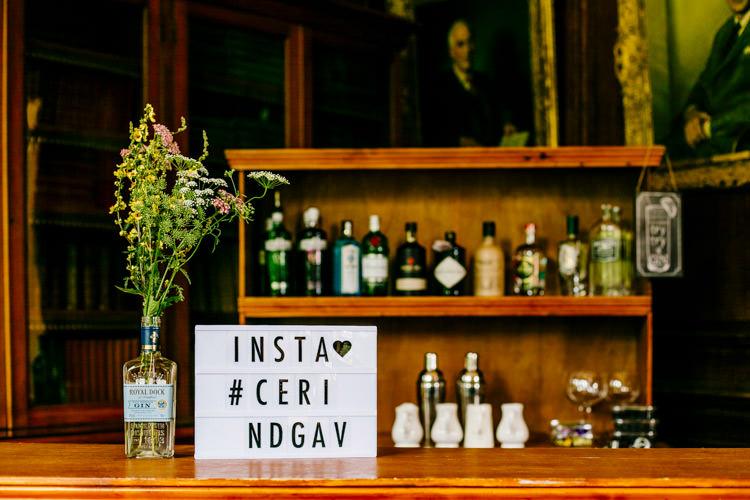 DIY Gin Bar Instagram Hashtag Light Box Setup Stylish Sassy Gin Wedding http://epiclovestory.co.uk/