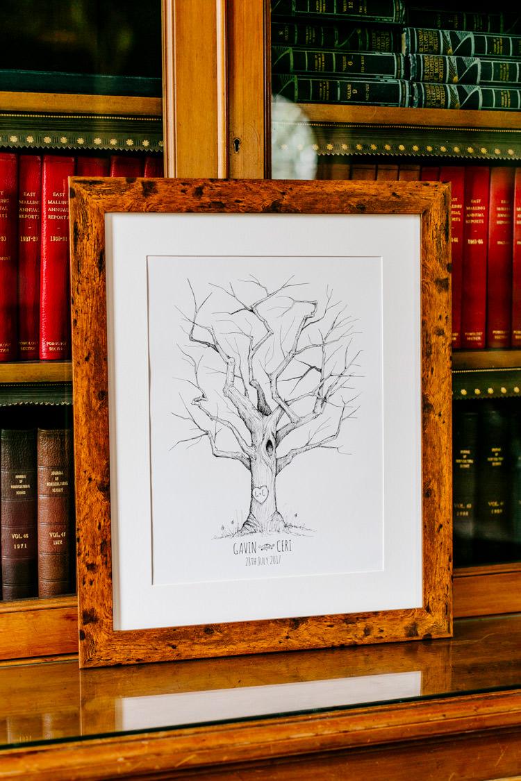 Guest Book Fingerprint Tree Stylish Sassy Gin Wedding http://epiclovestory.co.uk/