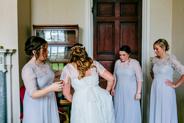 Bride Bridal Dress Gown Charlie Brear Strapless Overdress House of Fraser Bridesmaids Grey Lilac Lace Sleeved Stylish Sassy Gin Wedding http://epiclovestory.co.uk/