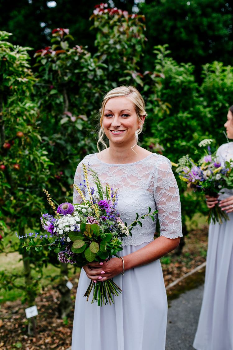 House of Fraser Bridesmaids Lace Sleeves Bouquet Purple Herbs Greenery Stylish Sassy Gin Wedding http://epiclovestory.co.uk/