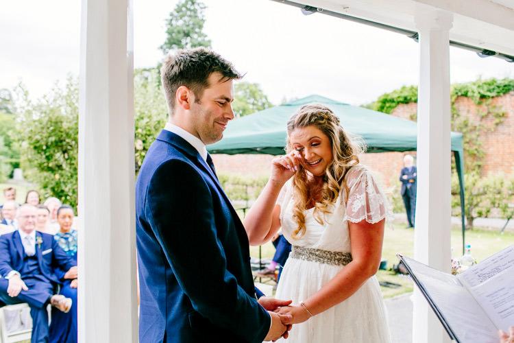Bride Bridal Dress Gown Charlie Brear Strapless Overdress Belt Jack Bunneys Groom Outdoor Ceremony Stylish Sassy Gin Wedding http://epiclovestory.co.uk/