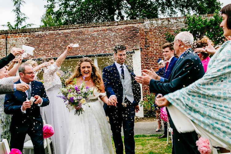 Bride Bridal Dress Gown Charlie Brear Strapless Overdress Belt Jack Bunneys Groom Suit Three Piece Confetti Shot Moment Stylish Sassy Gin Wedding http://epiclovestory.co.uk/
