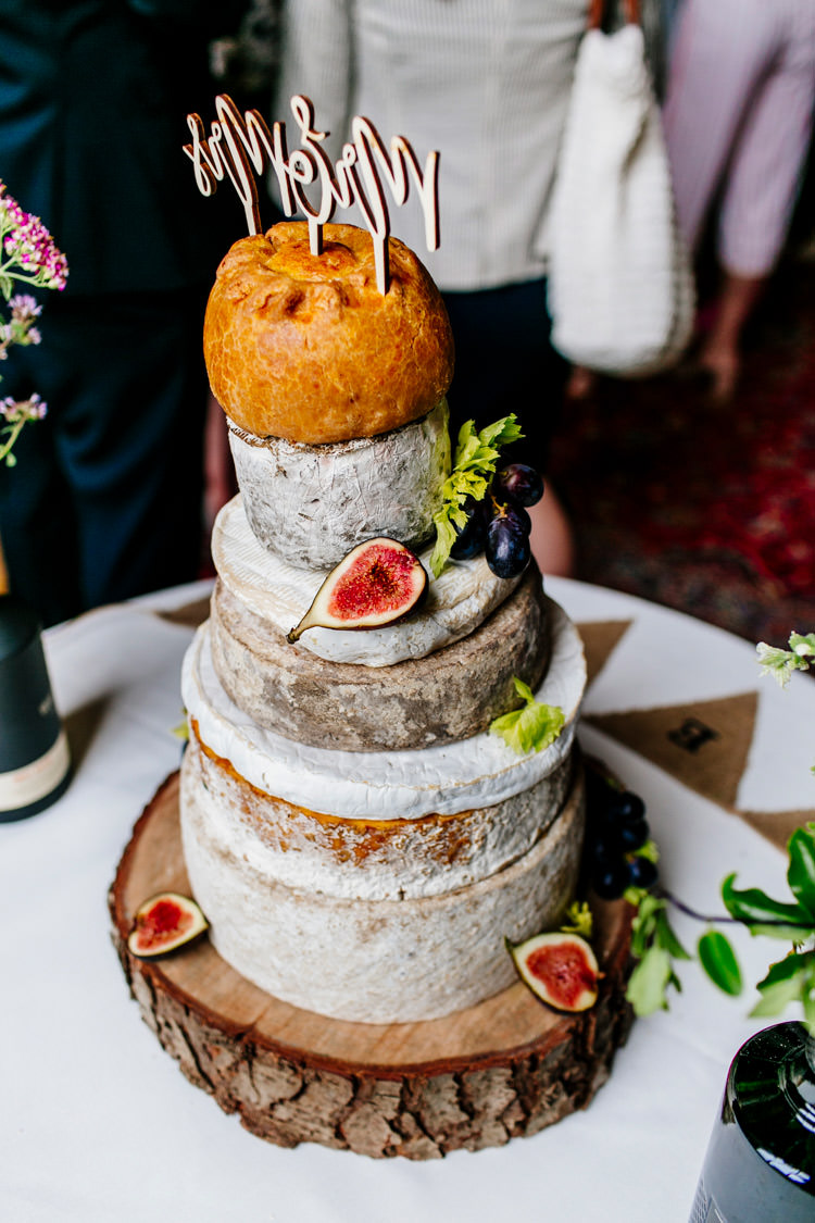 Tier Cheese Cake Pork Pie Bunting Hessian Figs Laser Cut Topper Stylish Sassy Gin Wedding http://epiclovestory.co.uk/
