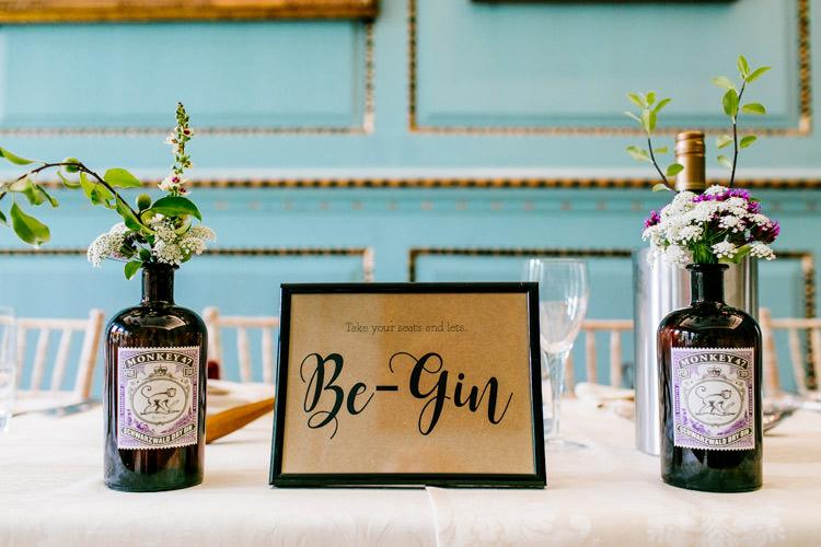 Top Table Bottles Floral Flowers Frame Modern Calligraphy Stylish Sassy Gin Wedding http://epiclovestory.co.uk/