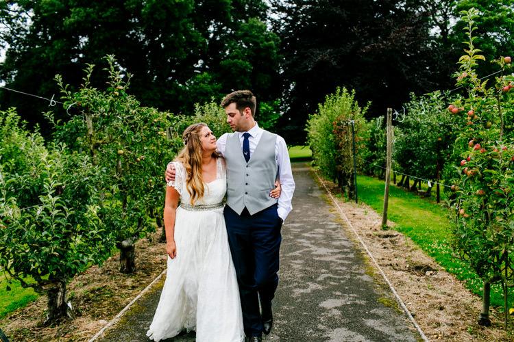 Bride Bridal Dress Gown Charlie Brear Strapless Overdress Belt Jack Bunneys Groom Grey Waistcoat Three Piece Stylish Sassy Gin Wedding http://epiclovestory.co.uk/