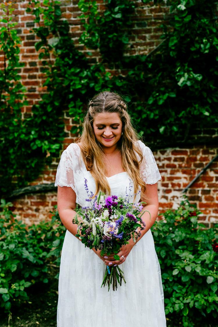 Bride Bridal Dress Gown Charlie Brear Strapless Overdress Belt Bouquet Wild Purple Foliage Greenery Lavender Stylish Sassy Gin Wedding http://epiclovestory.co.uk/