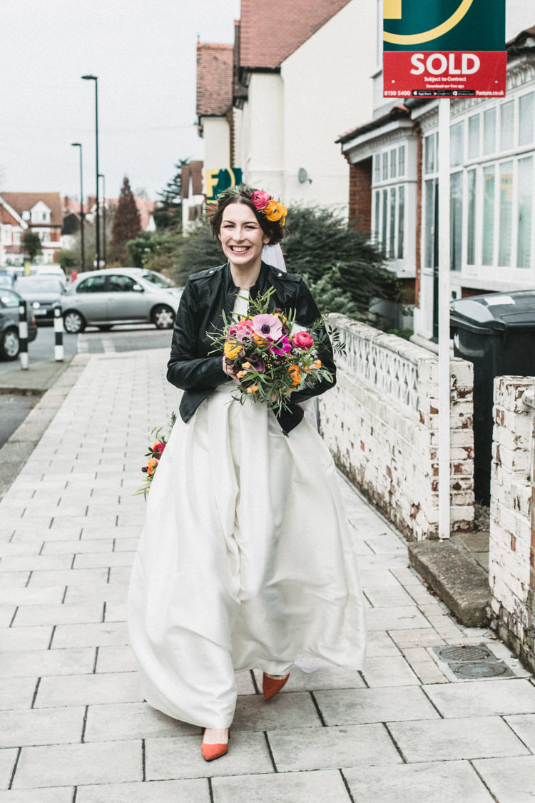 Charlie Brear Dress Gown Bride Bridal Cool Indie City Wedding Leather Jackets Dinosaurs http://www.charlottehuphotography.co.uk/
