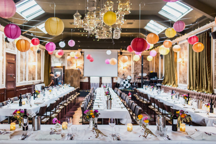 Multi Coloured Lanterns Decor Cool Indie City Wedding Leather Jackets Dinosaurs http://www.charlottehuphotography.co.uk/