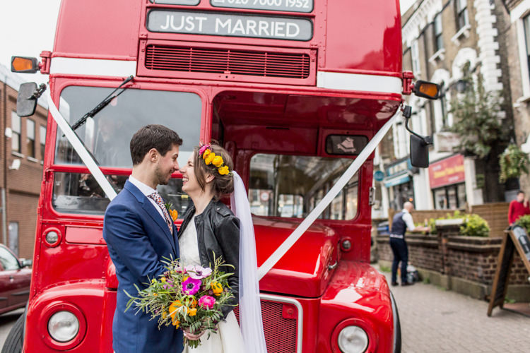 London Red Bus Transport Double Decker Cool Indie City Wedding Leather Jackets Dinosaurs http://www.charlottehuphotography.co.uk/