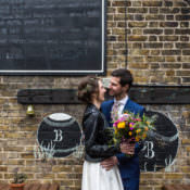 Cool Indie City Wedding with Leather Jackets & Dinosaurs