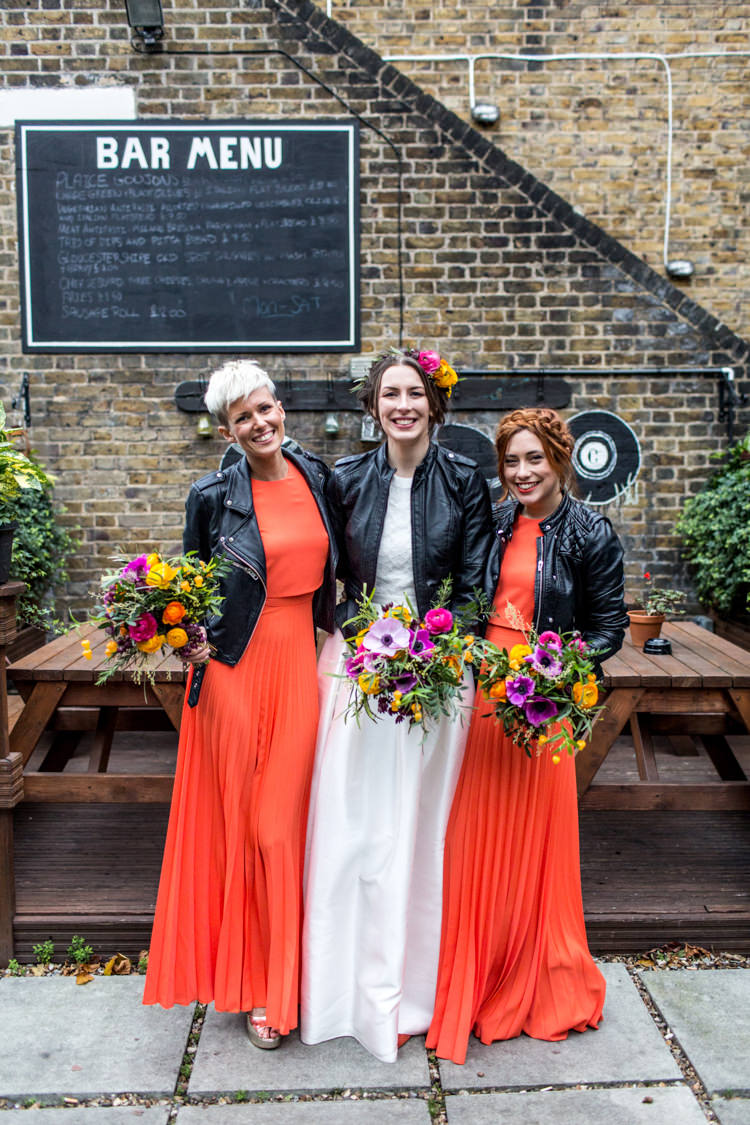 Bridesmaids Bride Accessories Coral Dress Outfit Cool Indie City Wedding Leather Jackets Dinosaurs http://www.charlottehuphotography.co.uk/