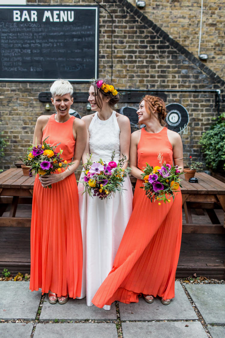Long Coral Bridesmaid Maxi Dresses Cool Indie City Wedding Leather Jackets Dinosaurs http://www.charlottehuphotography.co.uk/