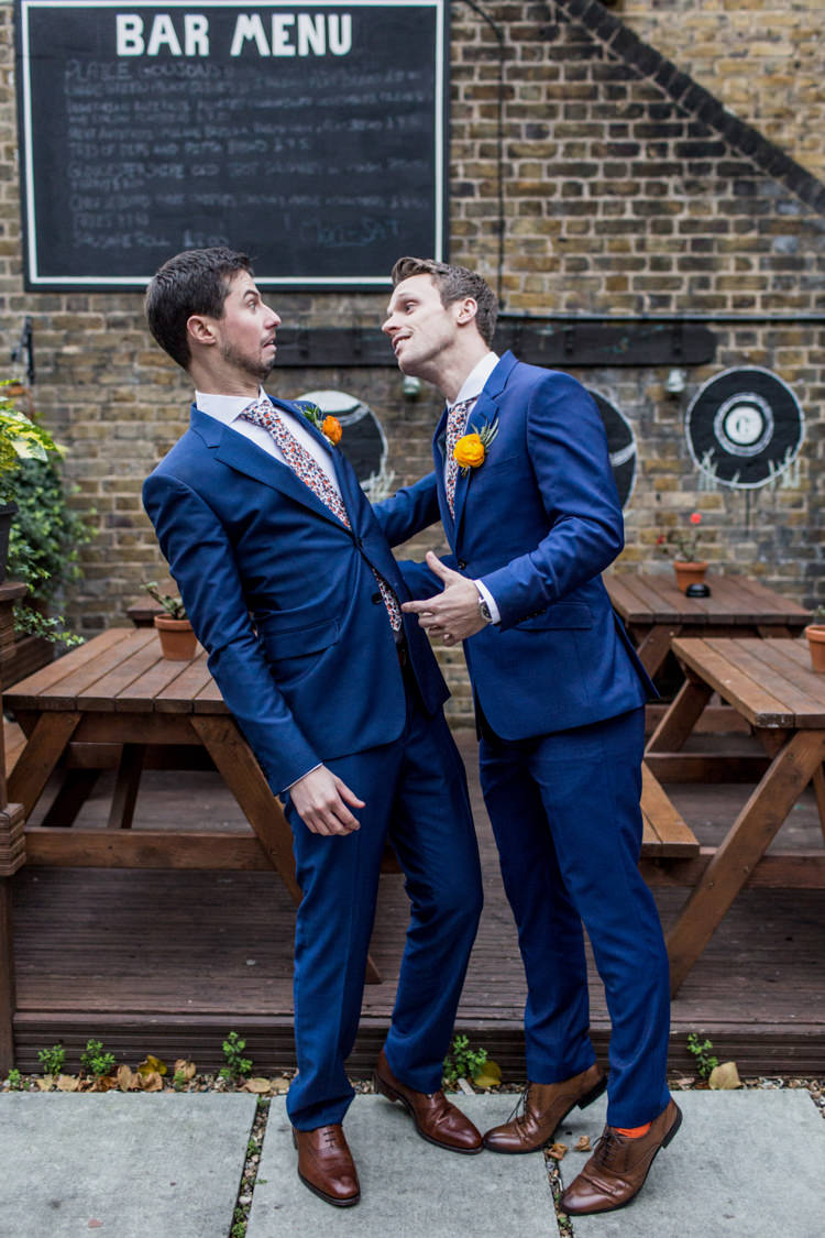 Groom Navy Blue Suits Liberty Print Floral Ties Cool Indie City Wedding Leather Jackets Dinosaurs http://www.charlottehuphotography.co.uk/