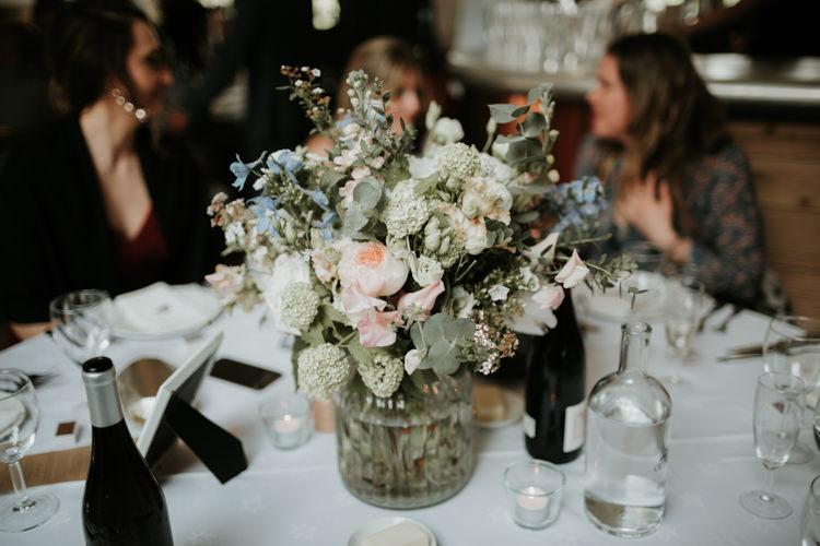 Flowers Centrepiece Rose Peach Blue Decor Modern Rose Gold Barn Wedding https://www.paulfullerkentphotography.com/