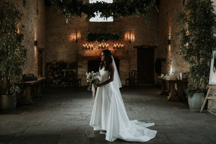 Karen Willis Holmes Dip Hem Dress Strapless Gown Bride Bridal Modern Rose Gold Barn Wedding https://www.paulfullerkentphotography.com/