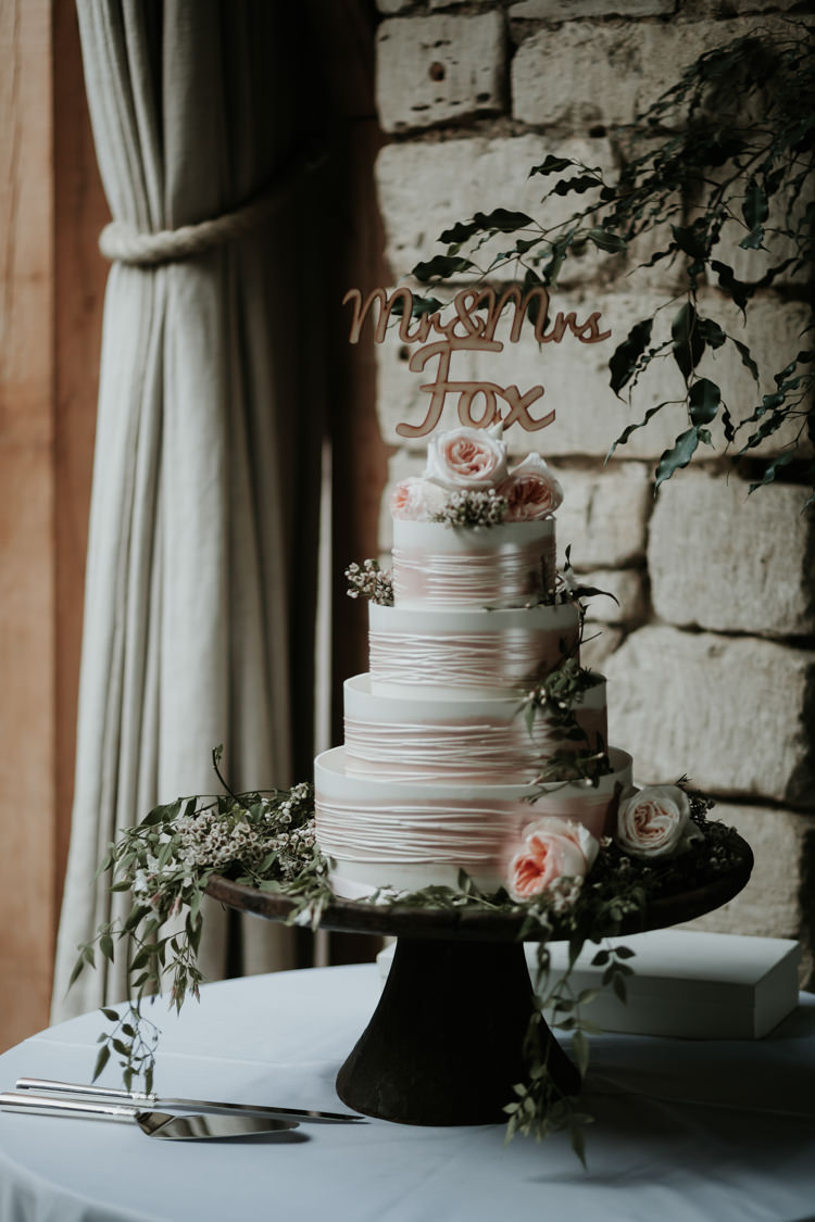 Cake Flowers Topper Modern Rose Gold Barn Wedding https://www.paulfullerkentphotography.com/