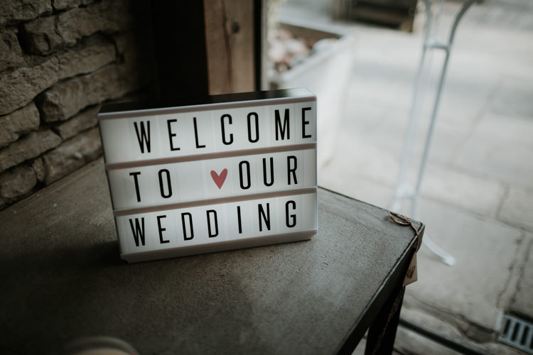 Light Sign Welcome Modern Rose Gold Barn Wedding https://www.paulfullerkentphotography.com/