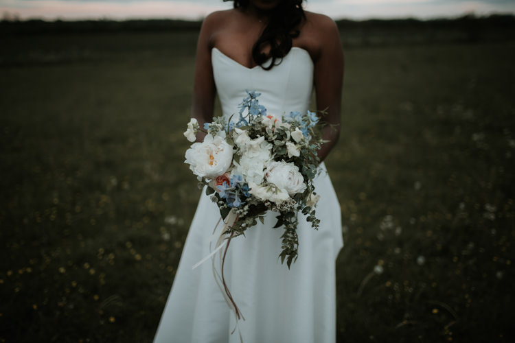 Bouquet Flowers Peach Blue Bride Bridal Peony Ribbon Modern Rose Gold Barn Wedding https://www.paulfullerkentphotography.com/