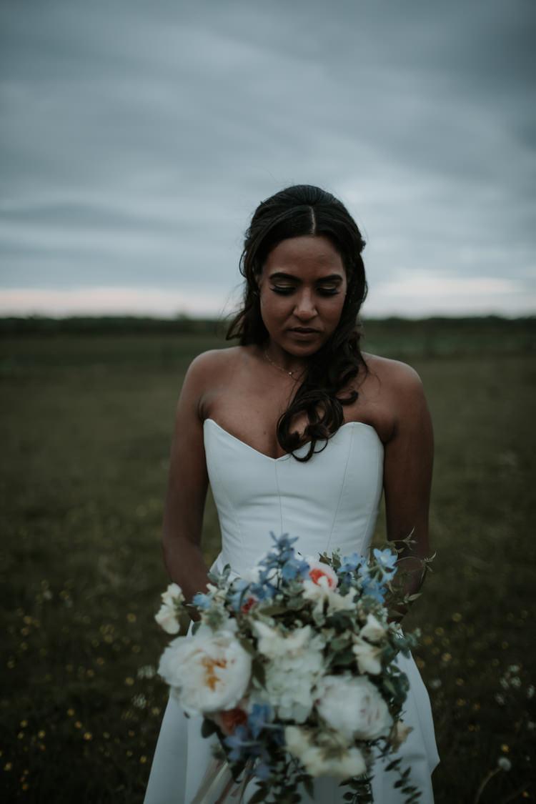 Strapless Dress Gown Sweetheart Bride Bridal Bouquet Peach Blue Flowers Modern Rose Gold Barn Wedding https://www.paulfullerkentphotography.com/